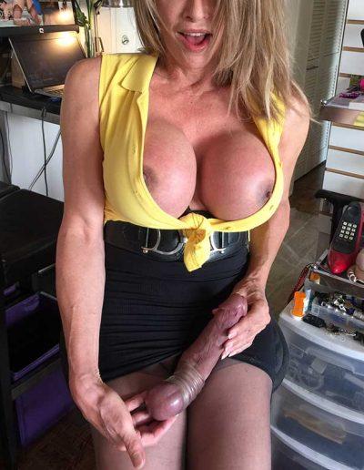 TSDee.com Yellow Top Hugs Tits Big Cock IMG 4791